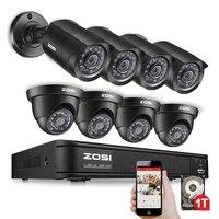 ZOSI 8CH безопасности камера системы 1080N DVR перезаказ с (8) HD 1280TVL Наружные камеры видеонаблюдения 1 ТБ HDD и обнаружения движения