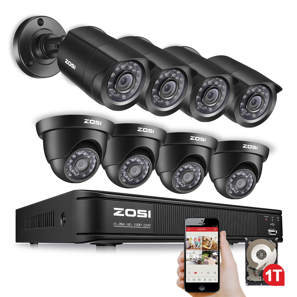 ZOSI 8CH Security Camera System 1080N DVR Reorder with (8) HD 1280TVL Outdoor CCTV Cameras with 1TB HDD and Motion Detection zosi 8ch cctv system 1080n hdmi tvi cctv dvr 8pcs 720p ir outdoor security camera 1280 tvl camera surveillance system 1tb hdd