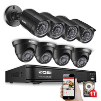 ZOSI 8CH Security Camera System 1080N DVR Reorder with (8) HD 1280TVL Outdoor CCTV Cameras with 1TB HDD and Motion Detection