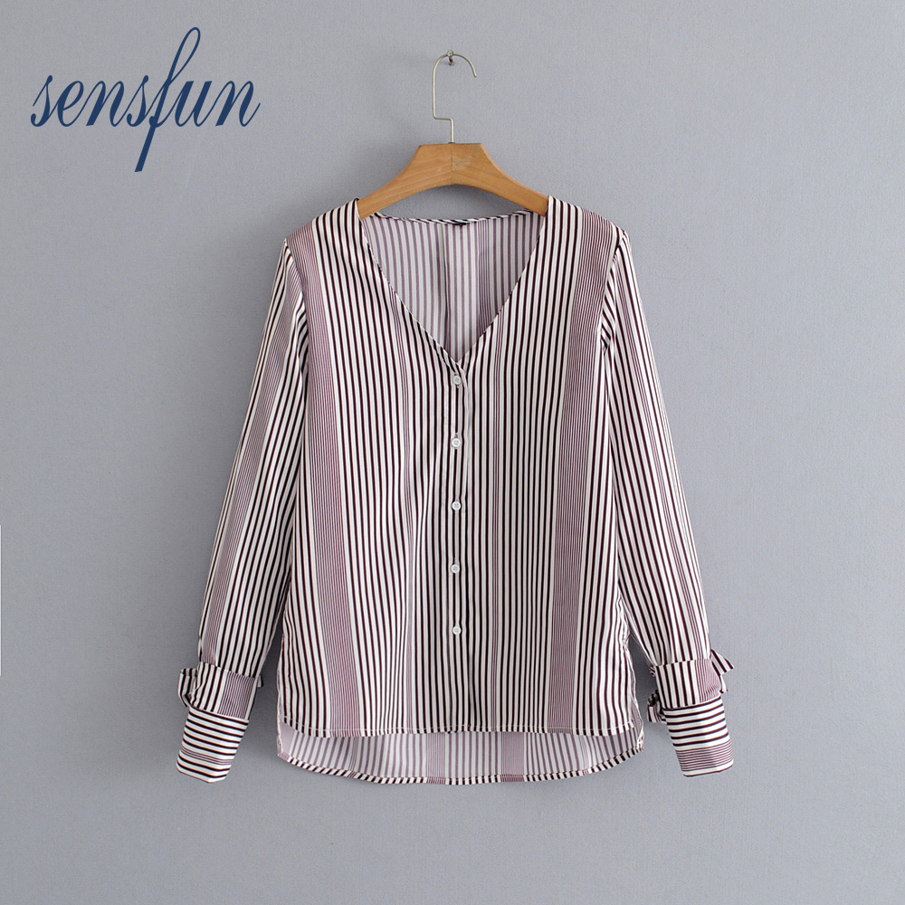 Sensfun Sexy V Neck Women Blouses Floral Shirts Women Ployster Casual Tops Long Sleeve Loose Ladies Shirt Tops Clothing Blusas