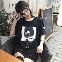Harajuku Japanese Cartoon Printting Illustrations Short Sleeves T Shirt White Tee Kawaii Cute Student Girl Wear