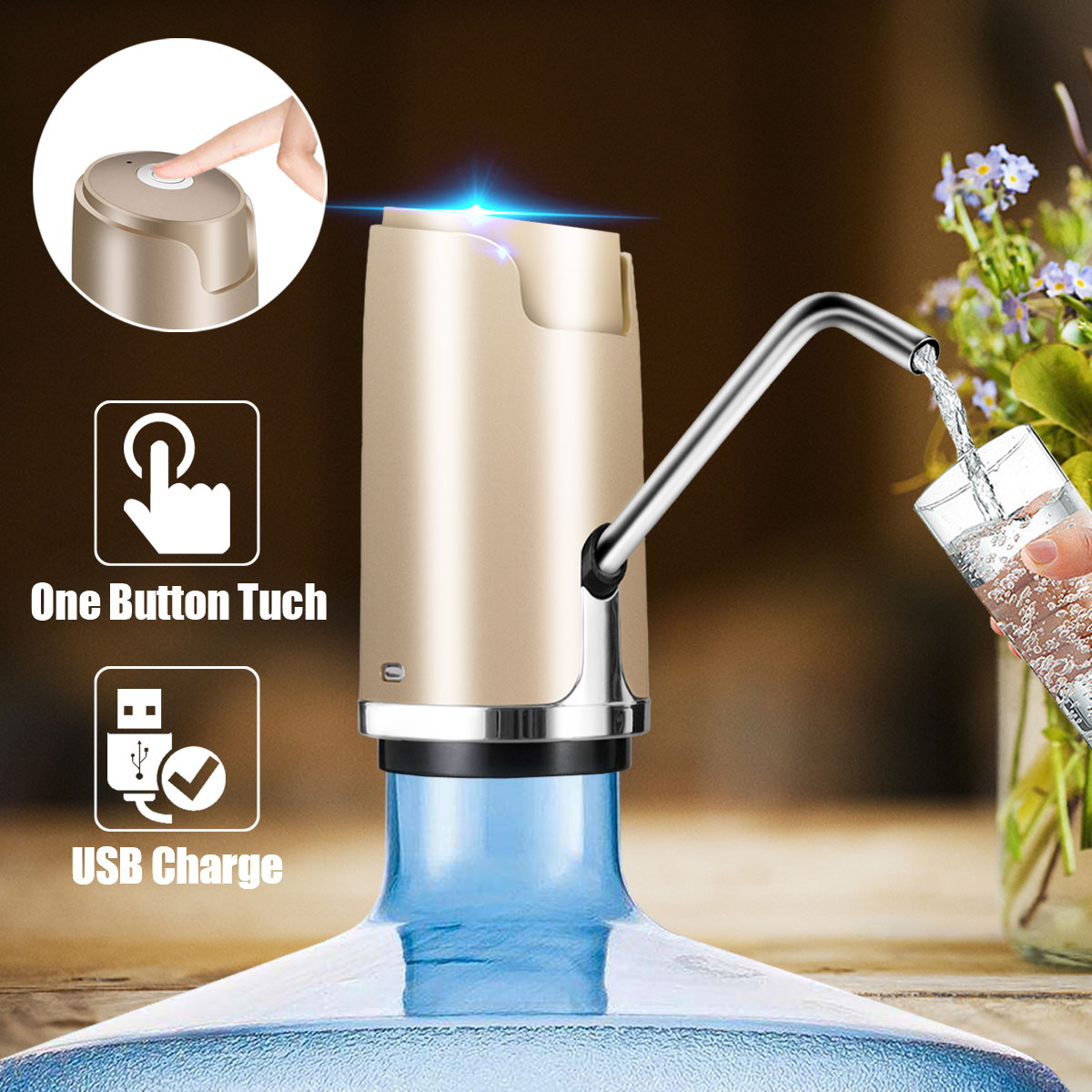 Automatic Wireless USB Rechargeable Electric Gallon Bottle Water Pump Drinking Pure Water Dispenser 1800mah automatic switch water to the bottle electric water dispenser with rechargeable drinking water automatic effluent