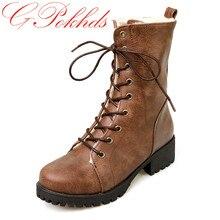 Gpokhds Большие размеры 33–43 высокое качество продажа 2017 стильные женские повседневные плюшевые зимние Ботинки Martin на шнуровке коричневого цвета ботильоны