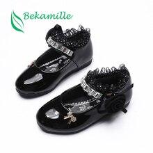 Bekamille Fleur Filles Chaussures Dentelle PU En Cuir Mignon Bowknot Strass Pour 3-11 Ans