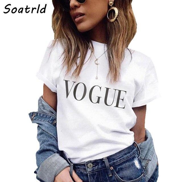 חדש קיץ נשים חולצה ווג מכתב מודפס T חולצות מקרית חולצות טי Harajuku O צוואר נשי חולצה אישה Camisetas Mujer