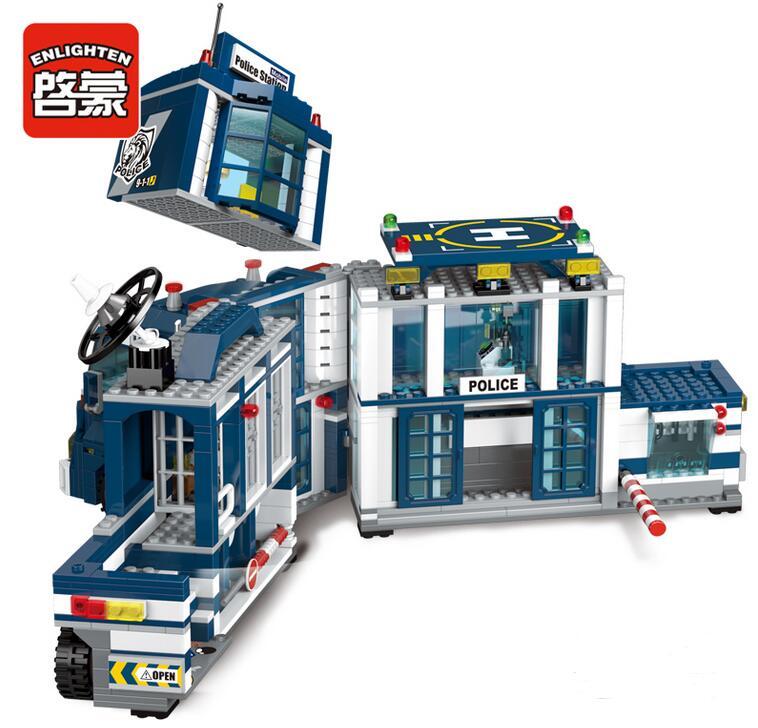 Enlighten 2017 NEW 951Pcs City Series Mobile Police Station Helicopter Model playmobil Building Blocks Bricks Toys for children