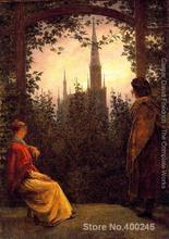 Canvas paintings Watching the church by Caspar David Friedrich modern art High quality Hand painted(China)