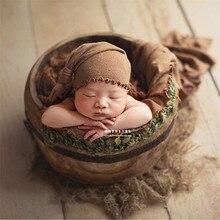 Baby Photography Props Boy Natural Solid Wood Barrel Newborn Basket for Posing Studio Foto Girl