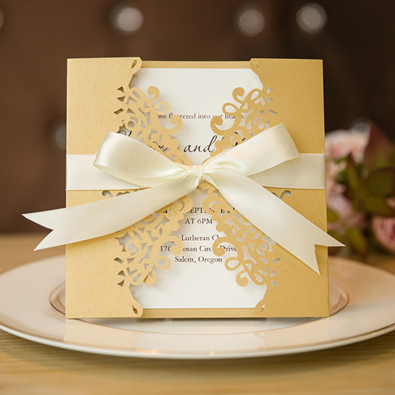 Where To Buy Wedding Invitation Paper: Aliexpress.com : Buy 10 Kits Blank Inside Print Gold Laser