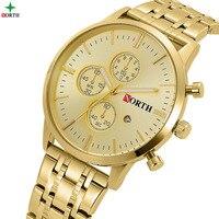 2017 North Gold Watch Men 3ATM Waterproof Nightlight Pointer Business Watches For Man Golden Luxury Casual