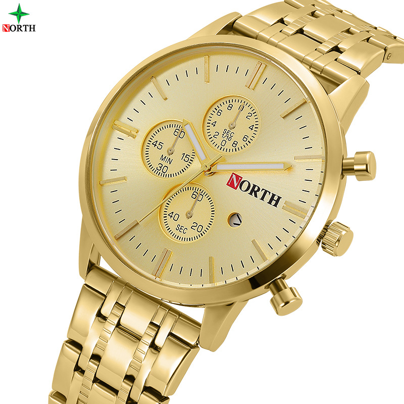 North Brand Luxury Gold Men's Business Reloj de vestir con calendario impermeable Relojes para hombres Golden Antique Casual Male Clock