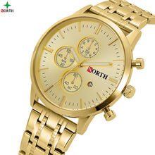 Северная Марка Роскошные золотые мужские часы бизнес Водонепроницаемый Календарь платье часы для мужчин Золотой античная повседневные мужские часы