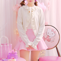 Princess Sweet Lolita Sweater Autumn Japanese Sweet Soft Sister Wind Leaf Edge Bead Bandage Knit Short