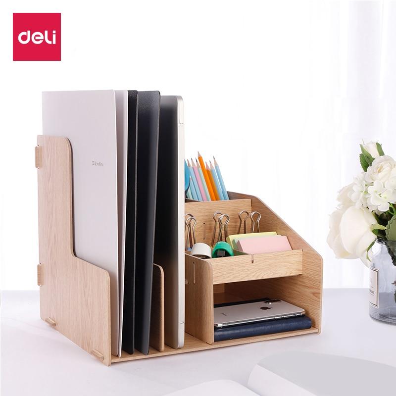 DIY Desktop Wooden Document Tray Storage Box Multifunction Pen Pencil File Holder Office Desk Organizer School Supplies 79250