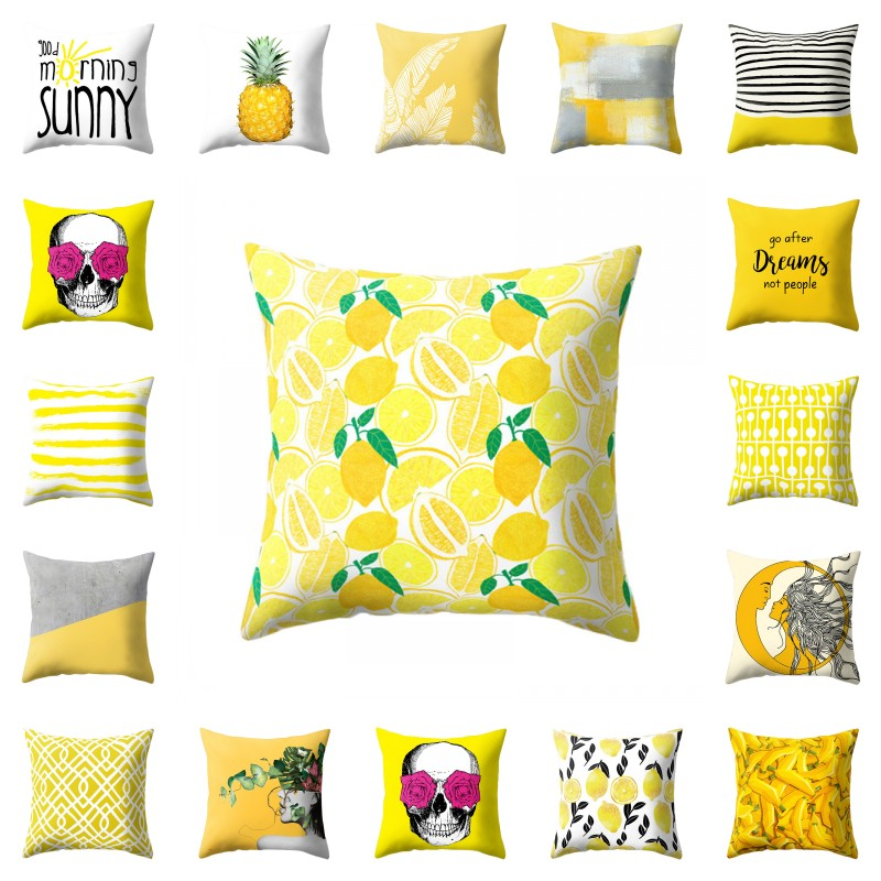 2018 New Cushion Cover for Safa 45x45cm cojines decorativos Pineapple Leaf Yellow Car Pillow Case Soft Polyester Pillowcase