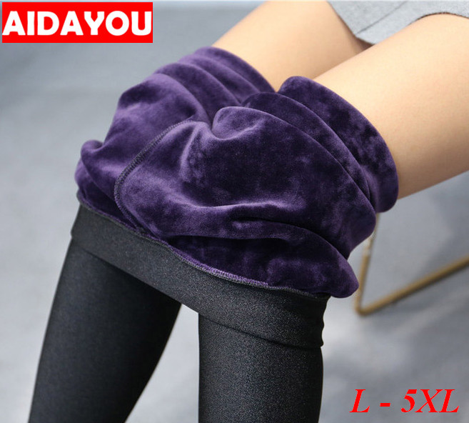 Fleece Lined   Leggings   for Women Winter Stretchy Pants Thermal Trousers Plus Size 5XL Cotton Warm ouc1707