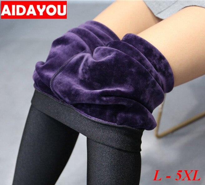 Fleece forrado leggings para mulheres inverno calças elásticas calças térmicas plus size 5xl algodão quente ouc1707