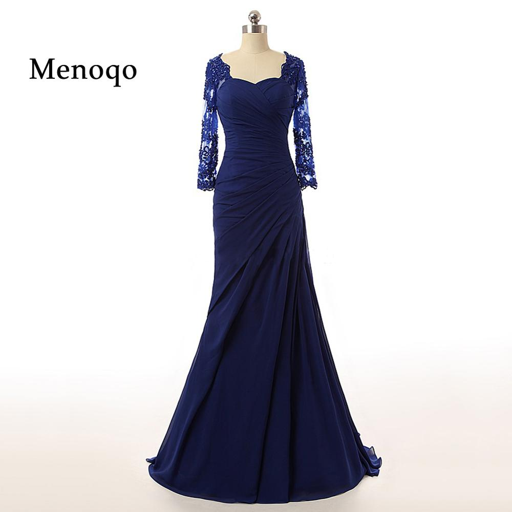 Real Photo Elegant Mermaid Applique Chiffon Long Sleeve 1271P 2020 New Mother Of The Bride Dress Formal