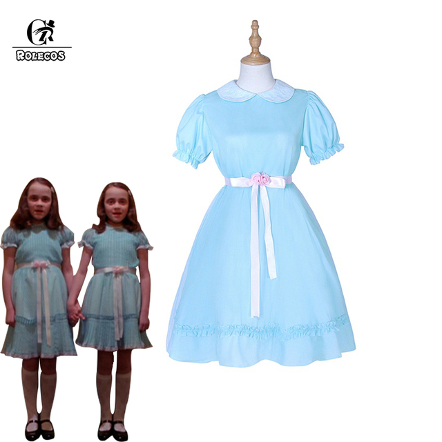 Rolecos Costume The Shining Twins Cosplay Blue Chiffon Dress For Women Horror Movie
