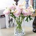 Vivid 1 pc 2 cabeças de flor de seda peônia flores artificiais falso folha para a festa de casamento decoração de casa 35 cm 4 cores
