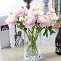 Vivid 1PC Silk Flower 2 Heads Peony Artificial Flowers Fake Leaf for Party Wedding Home Decoration 35cm 4 Colors