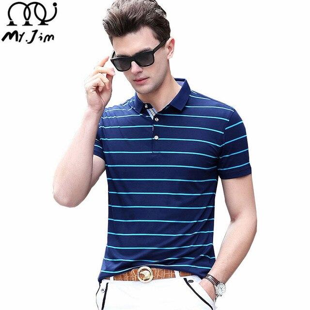 MR.JIM Free shipping polo 2017 brand shirt men POLO shirts short sleeve casual style for men  stripe shirts