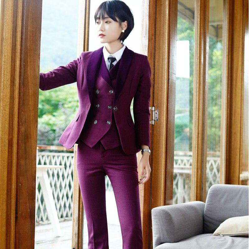 Элегантное фиолетовое OL стили брючные костюмы для Для женщин офисные Повседневная обувь пиджаки с 3 предмета в комплекте куртки + брюки + жил...