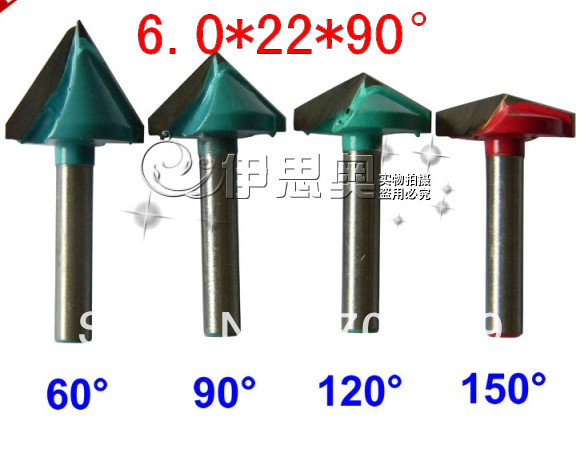 CNC Wood Engraving 3D Bits Router 90 Degree 6mm x 22mm V Groove Acrylic 6 22mm 90 degree v shaped 3d engraving tools carving bits cnc router cutting tools wood router bits