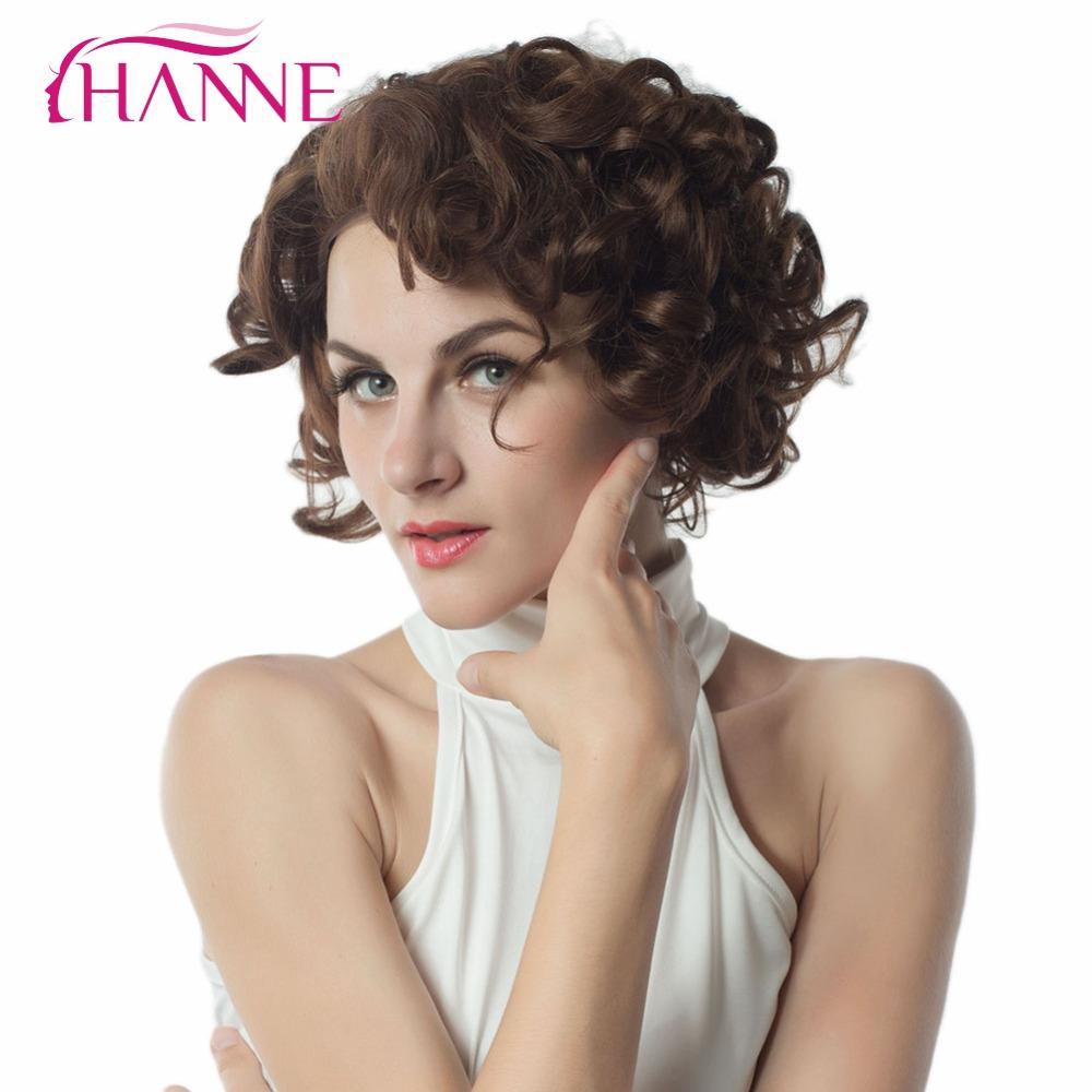 hanne o marrn sinttico peluca delantera del cordn con peines grande bouncy rizado a