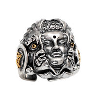 Genuine 925 Sterling Silver Jewelry Heavy Mens Signet Rings Buddha And Devil Blink Of The Heart Vintage Punk Rock Men Jewelry