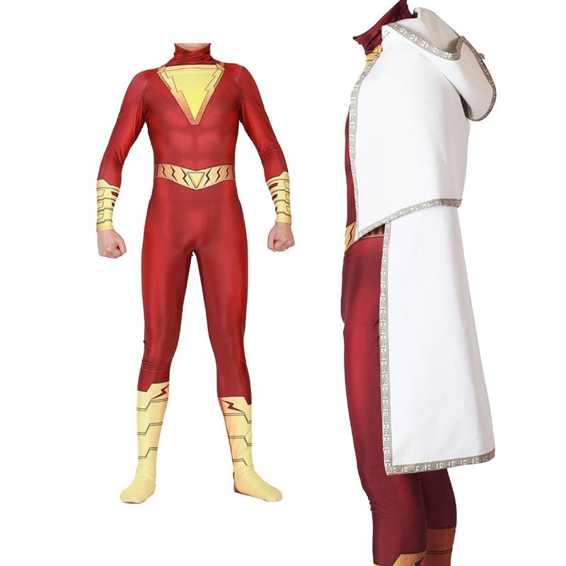 Adult Kids Lycra 2019 Movie Shazam Billy Batson Bodysuit Zentai Cosplay Costumes for Man Children Superhero Costume Cosplay
