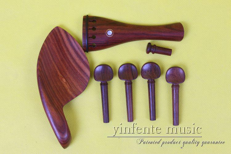New 1 set 4 string violin parts rosewood shell inlay 4/4 violin accessories violin pegs Chin rest 1#