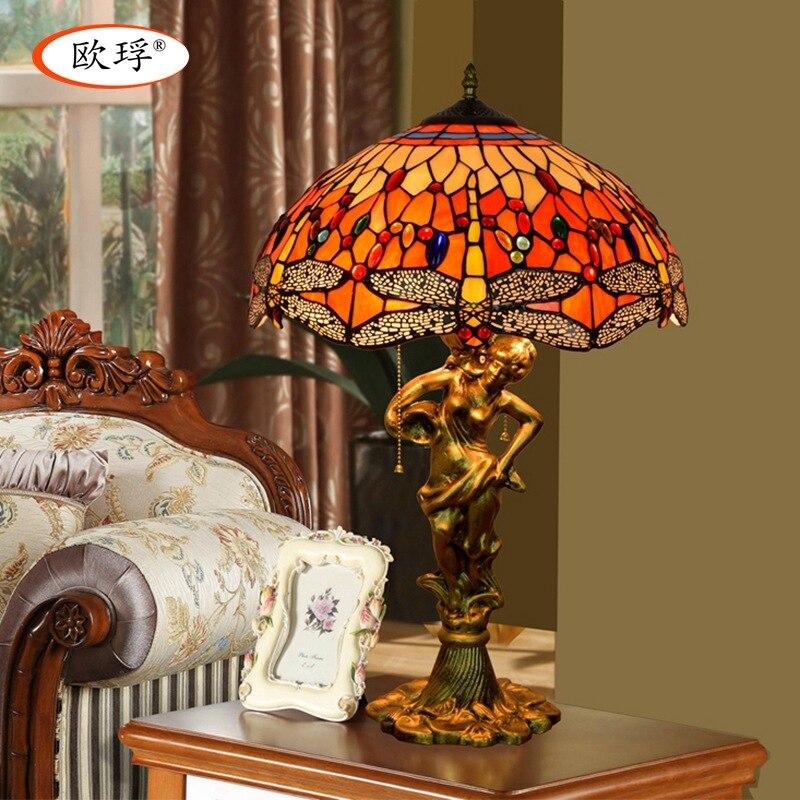 Европейский Тиффани витражи Красная стрекоза art настольная лампа для столовой спальня ночники