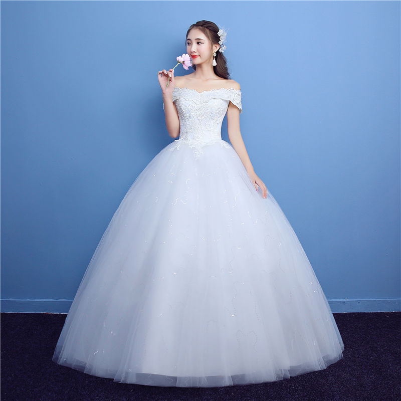 Aliexpress Buy Its YiiYa Off White Boat Neck Sleeveless Popular Wedding Gowns Embroidery Simple Pattern Appliques Quality Dress H07 From