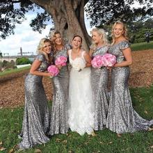 Grey Sequins Mermaid Modest Bridesmaid Dresses Cap Sleeves o Neckline Long Formal Wedding Party Dress Maids of Honor Dresses