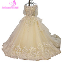 AOLANES Real Photos Champange Wedding Dresses Scoop Train