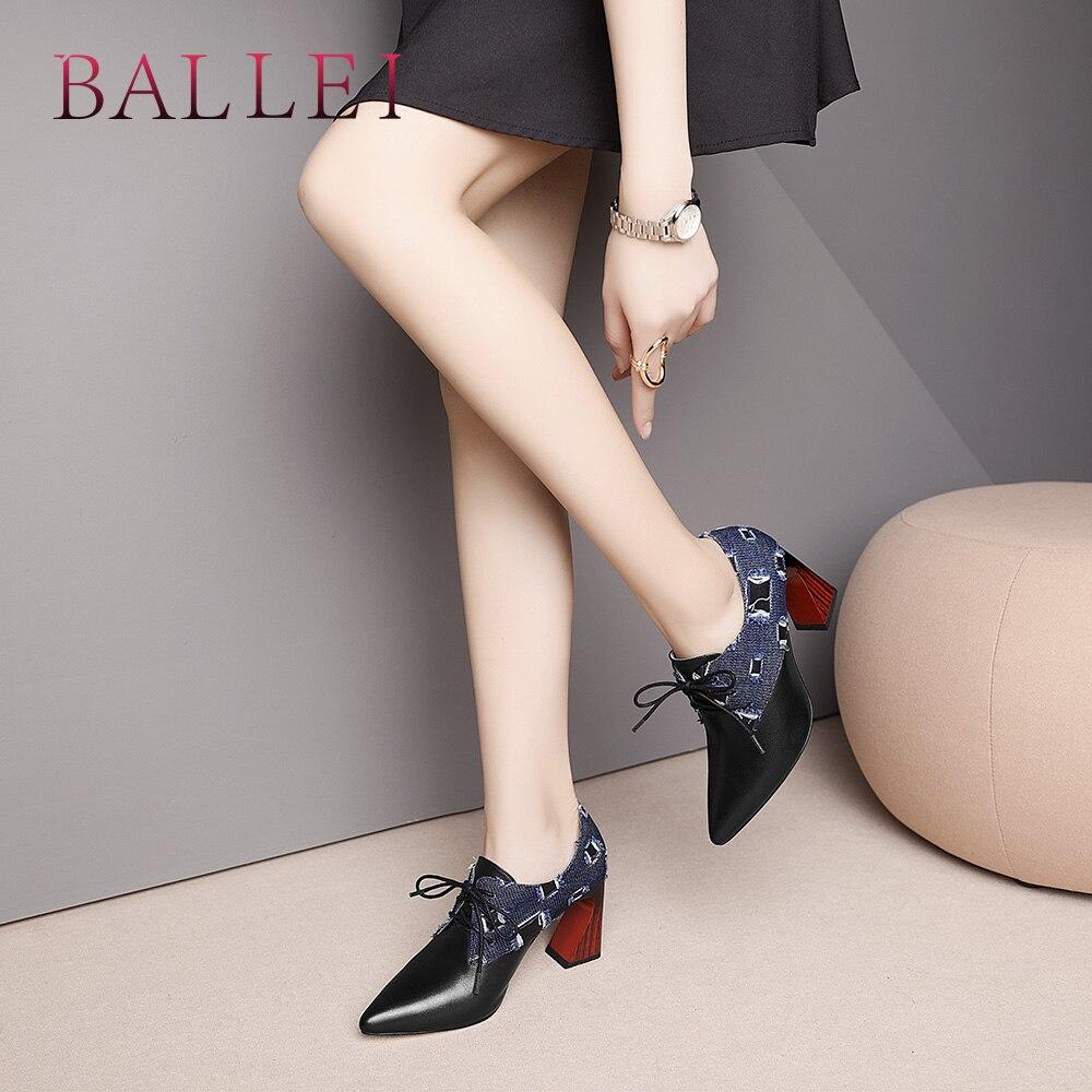 Chaussures En D79 Talon Mode Femme Sexy Slip Qualité À Ballei Pointu Doux Lacets De Véritable Cuir Carré on Luxe Haute Solide Pompe 6n70wq1p