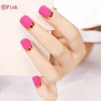 10PCS Natural White Polish Color Black Tip False Nail High Quality Product Peach Red Mixed