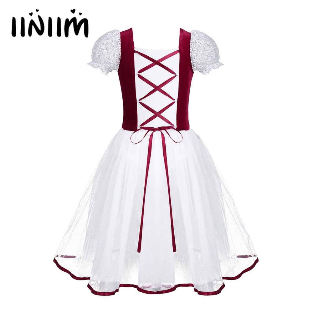 Iiniim Kids Girls Professional Ballet Tutu Dress Velvet Mesh Lacework Short Bubble Sleeves Ballet Dance Gymnastics Leotard Dress