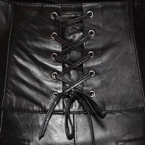 Image 3 - Pantalones cortos de cuero de cintura alta para mujer, Shorts de cuero de alta calidad, ajustados, con lazo cruzado, elegantes, de talla grande 5XL