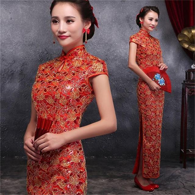 Discount Red Chinese Lady Brocade Long Cheongsam Qipao Bridesmaid Evening Dress/Qipao Size S M L XL XXL QS19