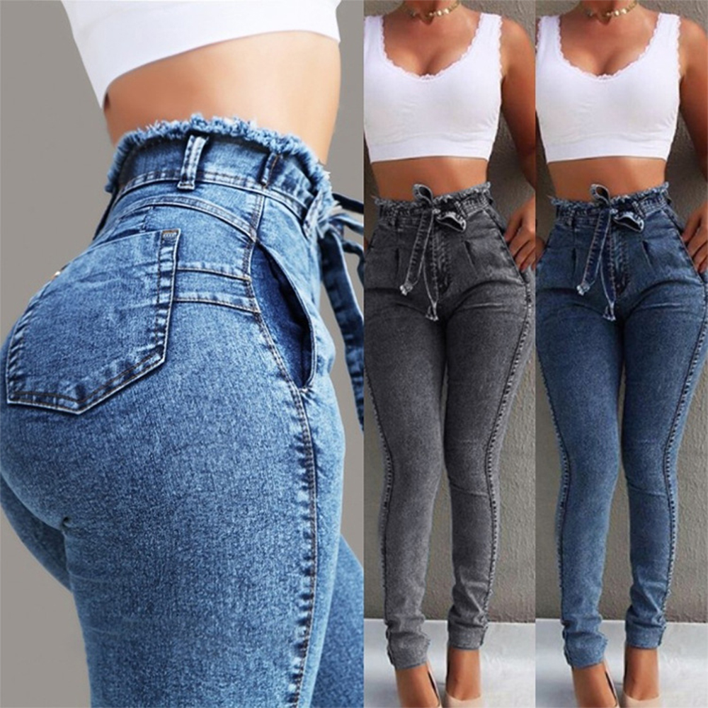Laamei 2019 Summer High Waist Jeans Women Streetwear Bandage Denim Plus Size Jeans Femme Pencil Pants Skinny Jeans Woman(China)