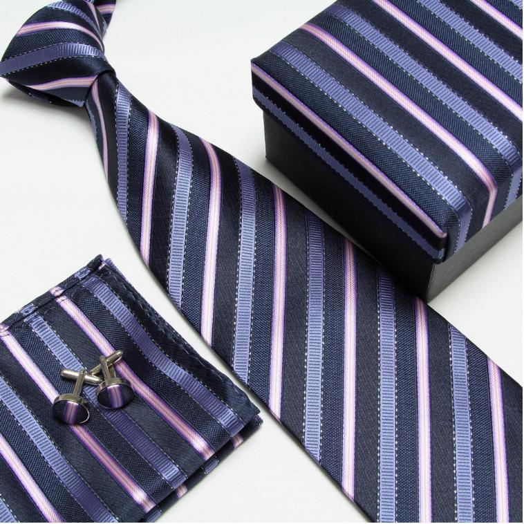 Мужская мода высокого качества набор галстуков галстуки запонки шелковые галстуки Запонки Карманный платок - Цвет: 7