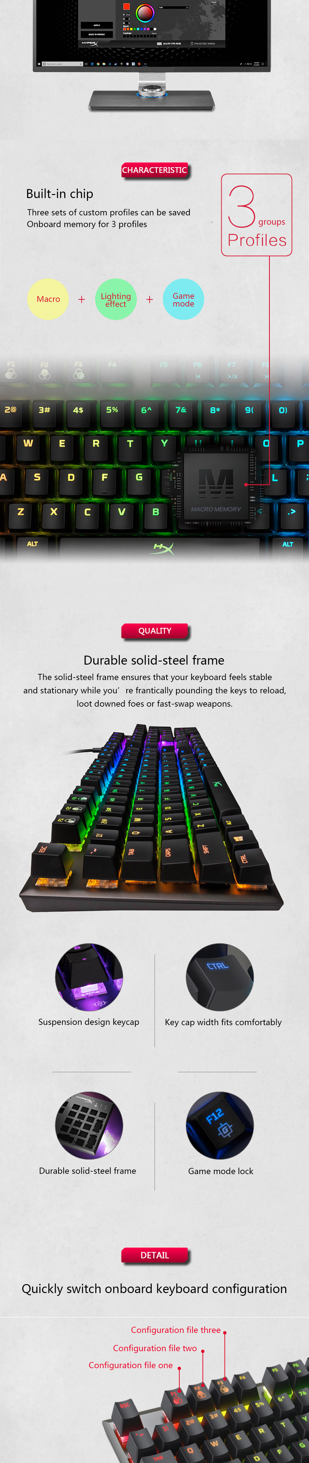 KINGSTON E-sports keyboard HyperX Alloy FPS RGB Gaming Keyboard Metal panel mechanical keyboard FPS & MOBA Gaming Keycaps