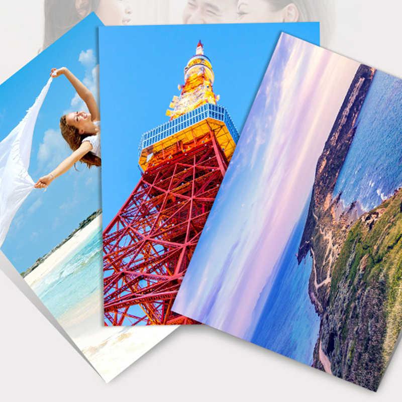 1 juego/20 hojas de papel fotográfico alto brillo 4R 4x6 aplicar a la impresora de inyección de tinta Ideal para la calidad gráficos de salida coloridos para fotografía