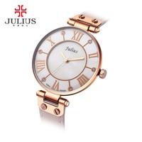2017 New Julius Silver Watches Women Stainless Steel Quartz Watch Brand Ultra Thin Woman Watch Gold