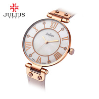 2017 New Julius Silver Watches Women Stainless Steel Quartz Watch Brand Ultra Thin Woman Watch Gold