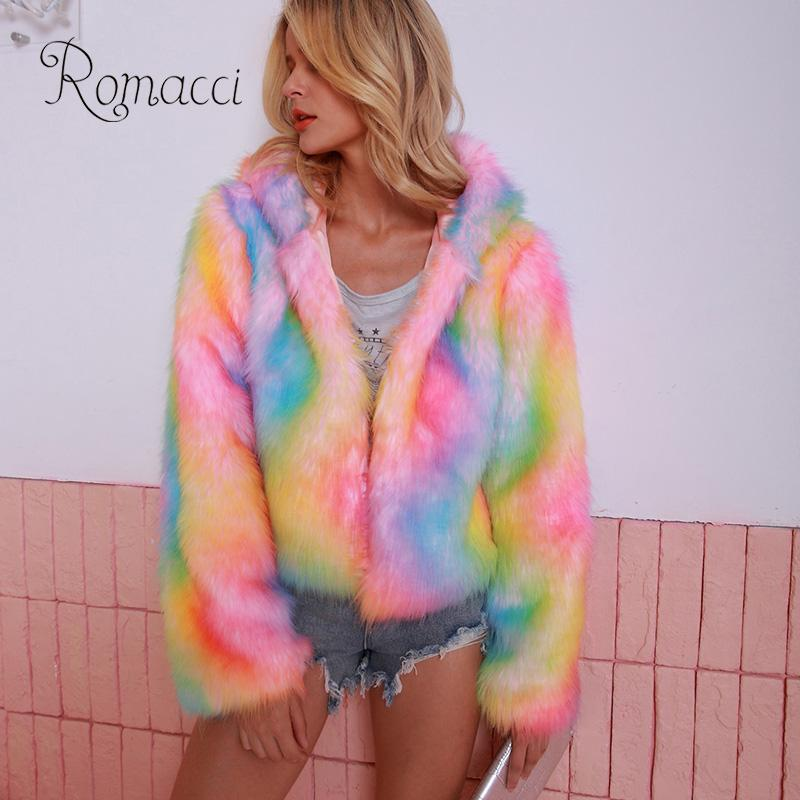 Women Shaggy Faux Fur Coat Colorful Rainbow Print Hooded Neck Long Sleeve Warm Fur Jacket Women Cool Multicolor Streetwear Coat