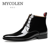 MYCOLEN New Fashion Shoes New Winter Brogue Style Men Genuine Leather Boots Male Winter Wedding Boots Coturnos Masculino