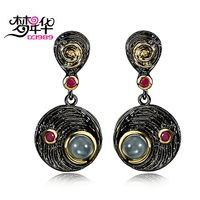 DC1989 Free Shipping 2016 Vintage Round Disk Drop Black Gold Plated Fuchsia Cubic Zirconia Drop Earrings